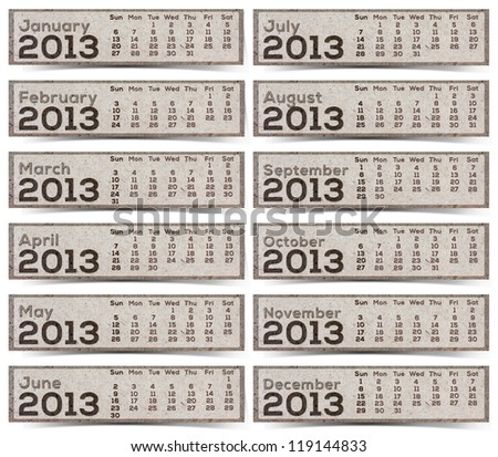 2013 Calendar brown Texture Mulberry Paper. - stock photo