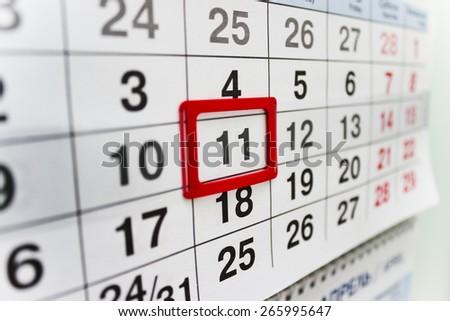 calendar eleven  - stock photo