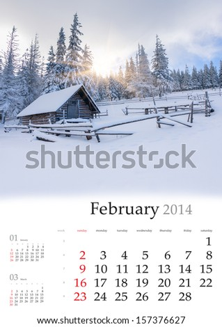 2014 Calendar. February. Beautiful winter landscape in the mountains. - stock photo