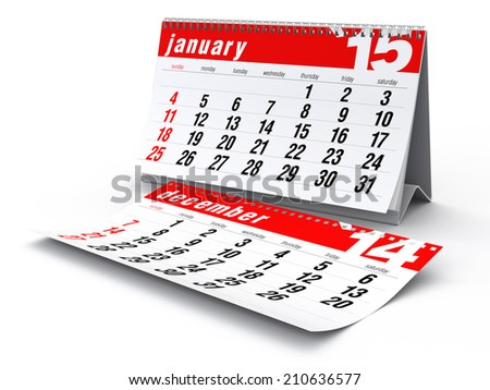 2015 Calendar. Isolated on White Background. 3D Rendering - stock photo
