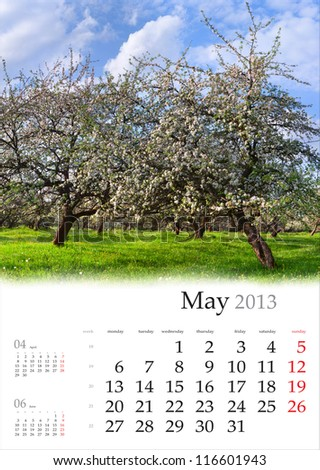 2013 Calendar. May. Beautiful spring landscape in the apples garden. - stock photo