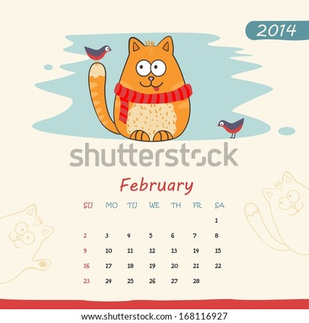2014 calendar, monthly calendar template with cats for February - stock photo