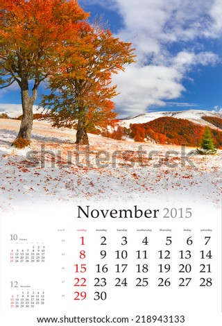 2015 Calendar. November. Beautiful autumn landscape in the mountains - stock photo