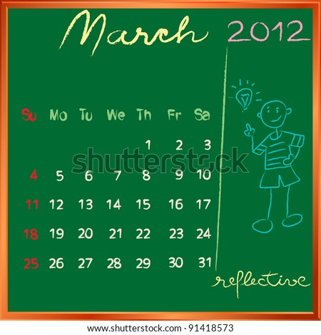 2012 calendar on a blackboard, march design with the happy reflective student profile for international schools - stock photo