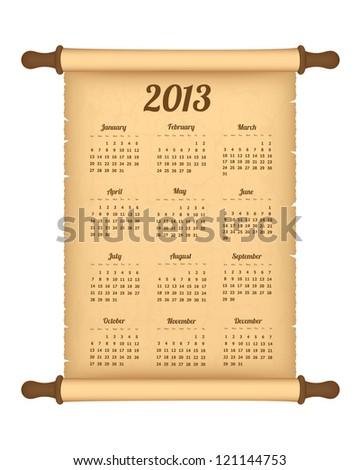 2013 calendar on parchment roll. Vector available. - stock photo