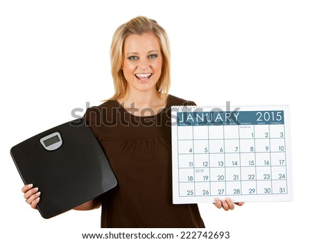 2015 Calendar: Ready To Start Dieting In January - stock photo