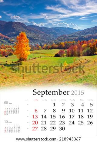 2015 Calendar. September. Beautiful autumn landscape in the mountains. - stock photo