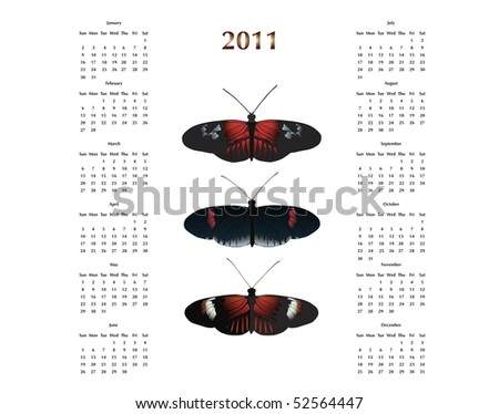 2011 Calendar with Postman Butterflies. Vector image also available - stock photo