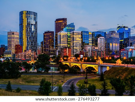 Calgary Canada at night - stock photo