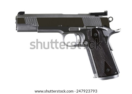 45 Caliber custom match grade stainless steel automatic pistol on white background - stock photo