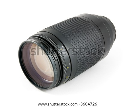 Camera telephoto lens front view. Isolated on white - stock photo