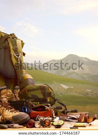 Camping equipment.                               - stock photo