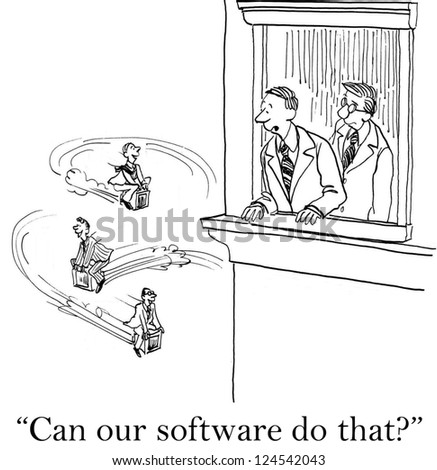 """""""Can our software do that?""""  ...make the computers fly - stock photo"""