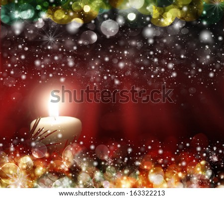 candles decorated in a festive Christmas decoration, with space for advertising text  - stock photo