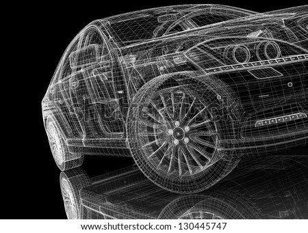 car .3D model body structure - stock photo