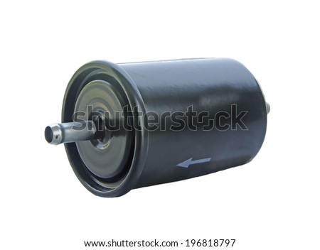 car fuel filter on  the white background - stock photo