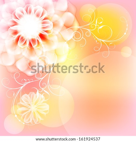 Card with a beautiful large flower. Raster copy  - stock photo