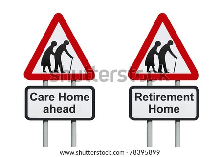 Care Home, retirement home warning roadsign isolated on a white background - stock photo