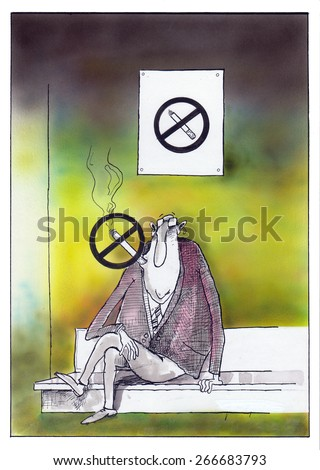 "Cartoon of a man smoking ""No Smoking"" sign. - stock photo"