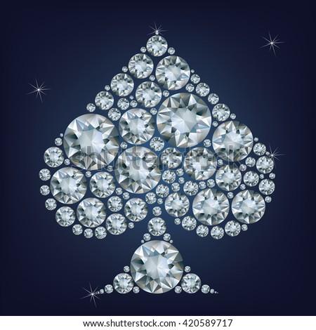 Casino poker element Spades Card made a lot of diamonds  - stock photo