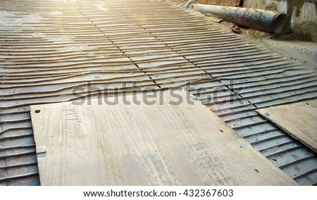 cement with steel poles for construction - stock photo
