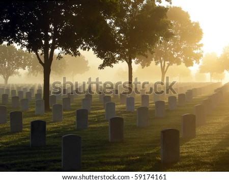 Cemetery on a foggy morning - stock photo