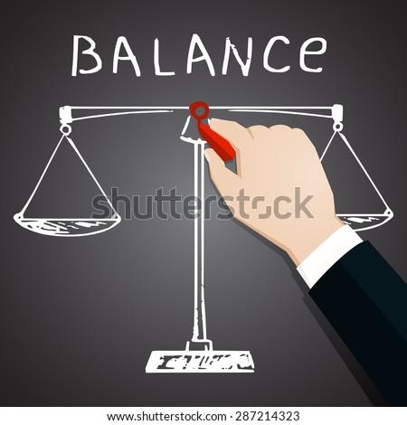 Chalk painted icon of balance. - stock photo