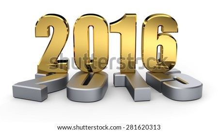 2015-2016 change represents the new year golden 2016. 3d illustration - stock photo