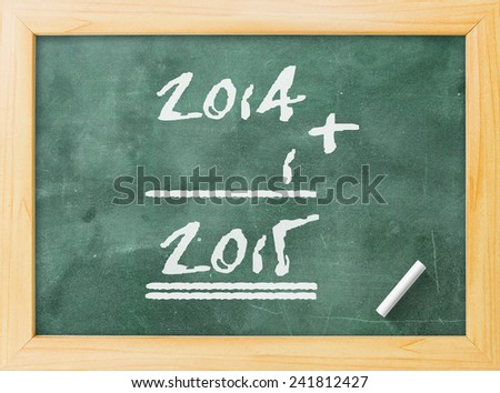 2014-2015 change represents the new year 2015. Green board display 2014 + 1 = 2015. - stock photo
