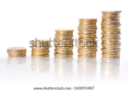 chart of euro currency - concept of increase  - stock photo
