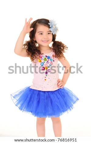 Cheerful girl wearing dress isolated on white - stock photo