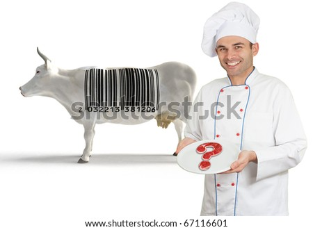 Chef presenting a plate with a doubtful meat, with a cow with a barcode in the background - stock photo