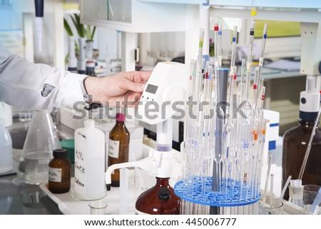 Chemical laboratory background. Laboratory concept. - stock photo