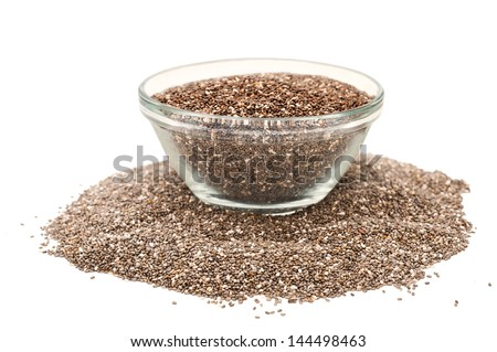 chia seeds isolated on white with bowl - stock photo