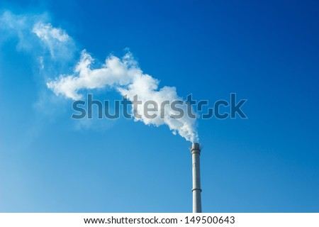chimney is smoking - stock photo