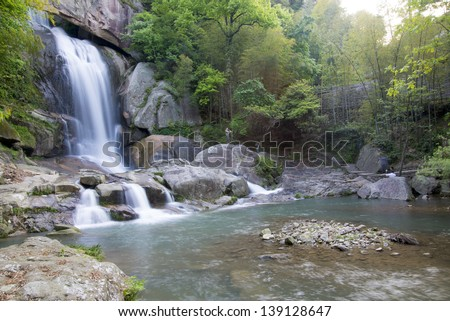 "China Zhejiang, ""Shiliangfei the waterfall."" A very well-known natural waterfall. - stock photo"