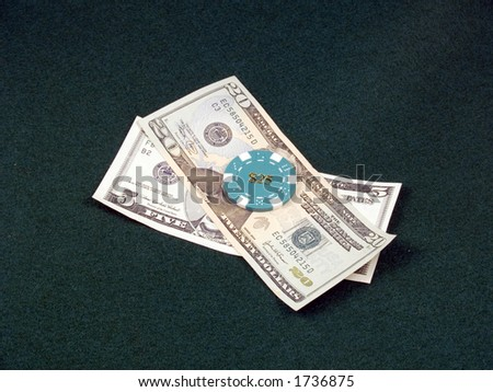 $25 Chip with cash - stock photo