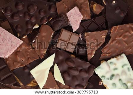 Chocolate bar/ chocolate bar pieces / nut chocolate/ chocolate background - stock photo