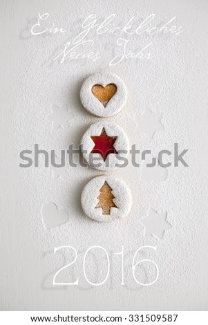 2016 Christmas and new year gingerbread cookies with honey - stock photo