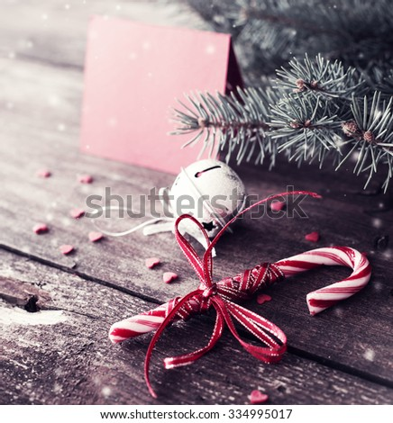 Christmas card with christmas rustic decorations - stock photo
