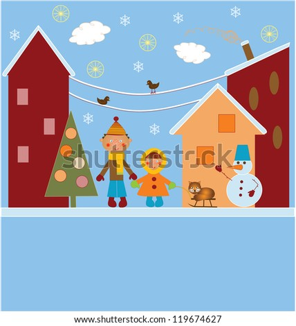 Christmas card with snowman children and a cat - stock photo