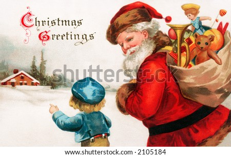 'Christmas Greetings' - Santa Claus asking directions from a little boy - a circa 1914 vintage greeting card illustration. - stock photo