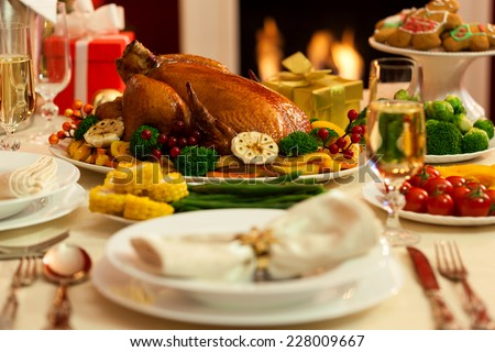 Christmas Turkey Dinner - stock photo
