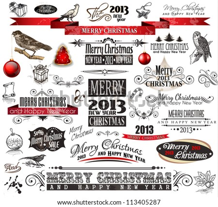 2013 Christmas Vintage typograph design elements: vintage labels. ribbons, stickers, baubles and gift boxes, birds, liquid drops, swirls and so on. - stock photo