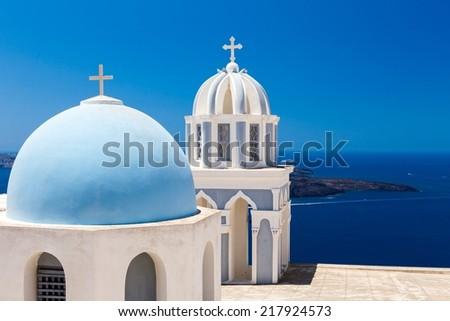 Church at Firostefani, Santorini, Greece - stock photo