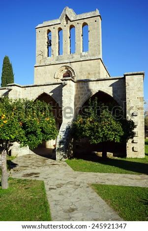 Church in Bellapais monastery near Girne, North Cyprus                               - stock photo