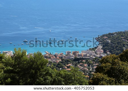 city coastline harbor shore yachts view from mountains day time blue sea on seascape background - stock photo