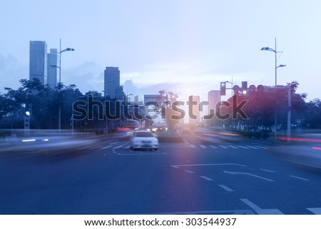 City highway, in Wuxi, China - stock photo