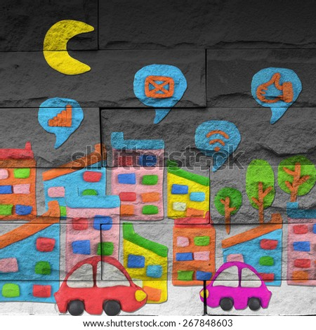 """""""city"""" Mural. The brick painting concept - stock photo"""