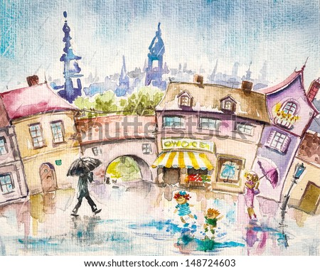 City scene-people in the town square at summer rain.Picture created with watercolors. - stock photo
